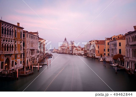 Venice Grand Canal sunrise and boat 49462844