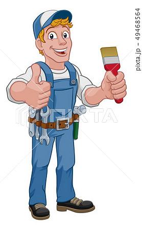 Painter Decorator Paintbrush Handyman Cartoon Man 49468564