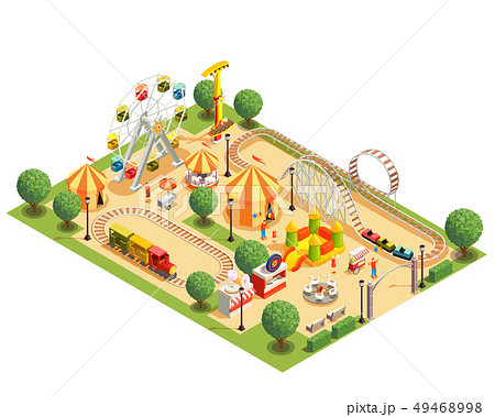 Amusement Park Isometric Composition 49468998