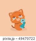 Cute cat illustration on pastel background. . 49470722