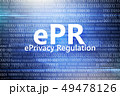 Regulations for protection of personal data. Inscription in circle of stars on blue background with 49478126