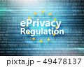 General regulations on data protection. Inscription in circle of yellow stars on background with 49478137