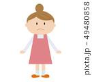 主婦 女性 エプロンのイラスト 49480858