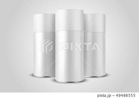 Vector 3d Realistic White Blank Spray Can, Bottle Set Closeup Isolated on White Background. Design 49486555