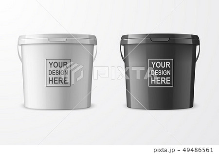 Vector Realistic 3d White and Black Plastic Bucket Set for Food Products, Paint, Foodstuff 49486561