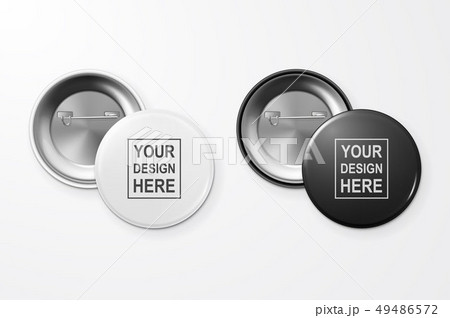 Vector 3d Realistic Black and White Blank Button Badge Closeup Isolated on White Background. Design 49486572