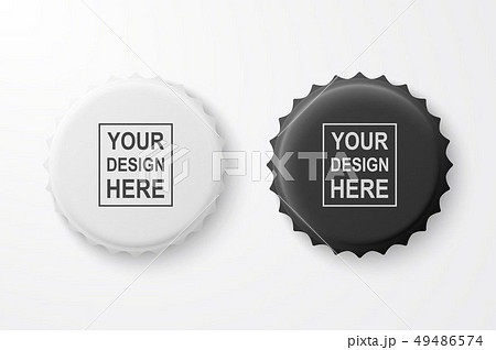 Vector 3d Realistic Black and White Blank Beer Bottle Cap Set Closeup Isolated on White Background 49486574