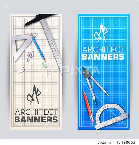 Architect blueprint banners cards set 49488053