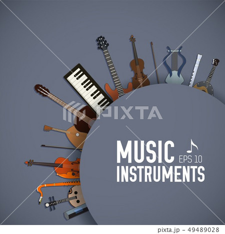 flat music instruments background concept.  49489028