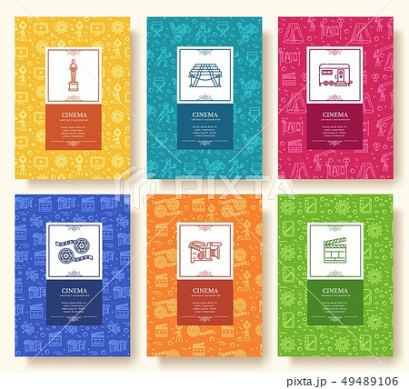 Set of thin line cinema vacation pattern concept. 49489106
