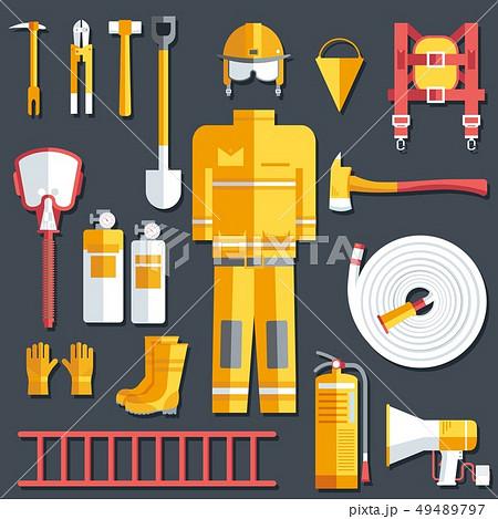 firefighter uniform and first help equipment. 49489797