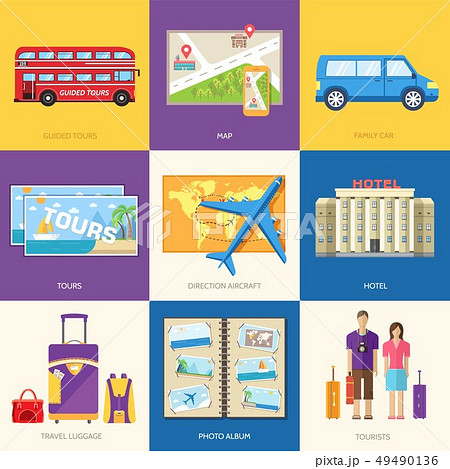 Travel guide infographic with vacation tour. 49490136