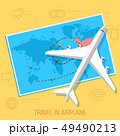 flat travel with airplane illustration design. 49490213