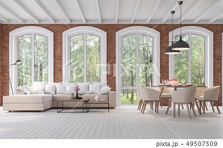 Scandinavian living and dining room 3d render 49507509