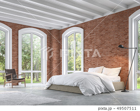 Loft style bedroom 3d render 49507511