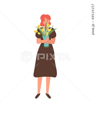Woman in Dress with Bouquet of Yellow Tulips 49514157