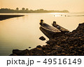 Fishing boat and sunrise in river 49516149