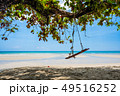 Summer beach and swing hanging from a tree 49516252