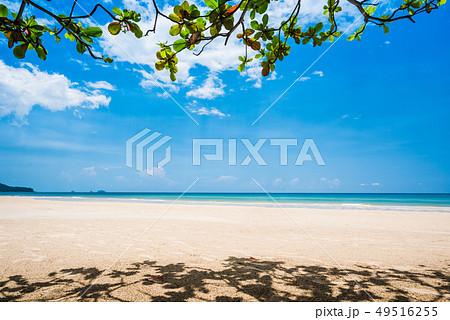 Sand beach and blue sky background 49516255