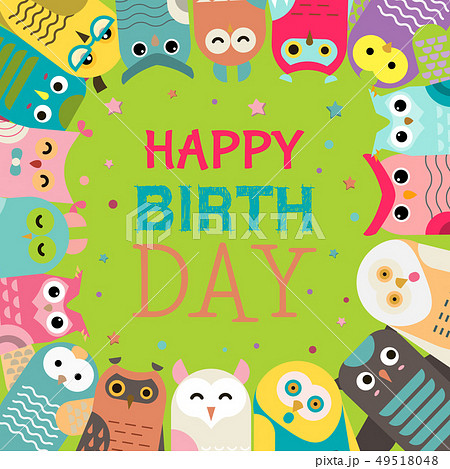 Owl pattern vector illustration. Welcome to my birthday. Make a wish. Cute cartoon wise birds with 49518048