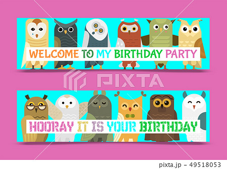 Owl banner and pattern vector illustration. Welcome to my birthday. Cute cartoon wise birds with 49518053