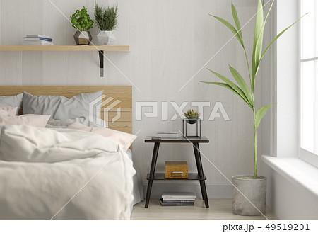Interior light bedroom. Scandinavian style. 3D rendering 49519201