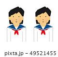 学生、中高生、女性、微笑む、真顔、セット、笑う(シンプルタッチ) 49521455