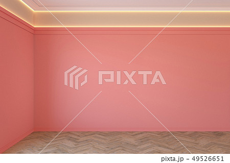 Empty coral, pink color interior with blank wall, mouldings, ceiling backlit and wooden floor. 49526651