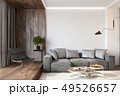 Modern living room interior with blank wall, sofa, lounge chair, table, wooden wall and floor. 49526657