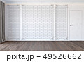 Modern classic white interior with brick wall, door, wooden floor, ceiling backlit and curtain. 49526662