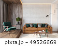 Modern living room interior with brick wall blank wall, sofa, lounge chair, wooden wall and floor. 49526669