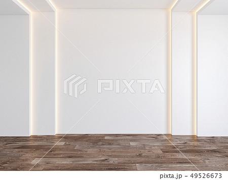 Empty room with white blank wall, hidden light, parquet wood floor. 49526673
