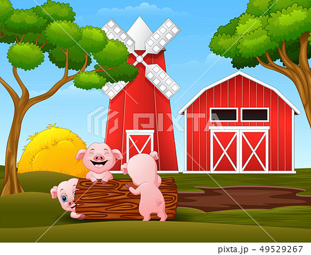 Happy three little pig playing logs in the farm 49529267