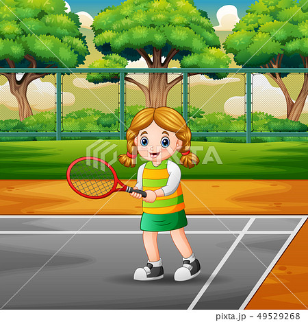 Happy girl playing tennis at the courts 49529268