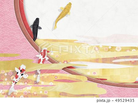 和風背景素材-和紙の風合い-和柄-クラフト-錦鯉-桜 49529435