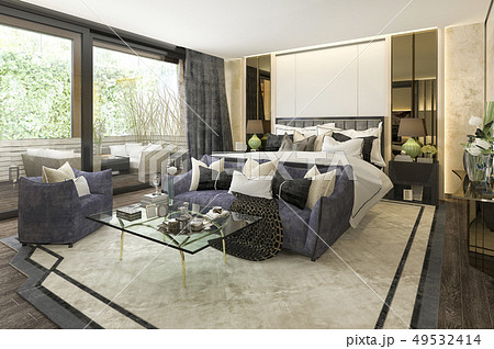 beautiful luxury bedroom suite in hotel with tv 49532414