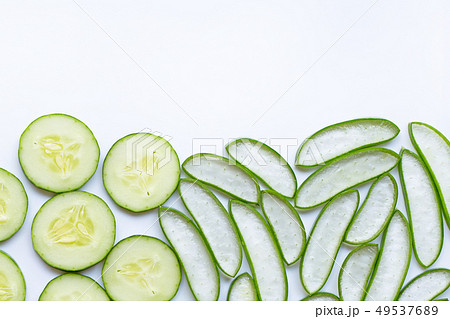 Aloe vera and cucumbers isolated on white. 49537689