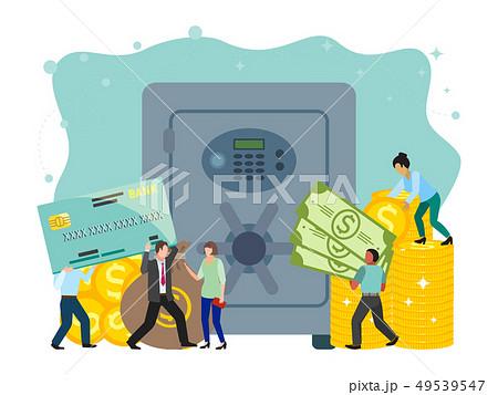 Bank safe and vault banner vector illustration, metallic iron safe door. Gold, cash, currency 49539547