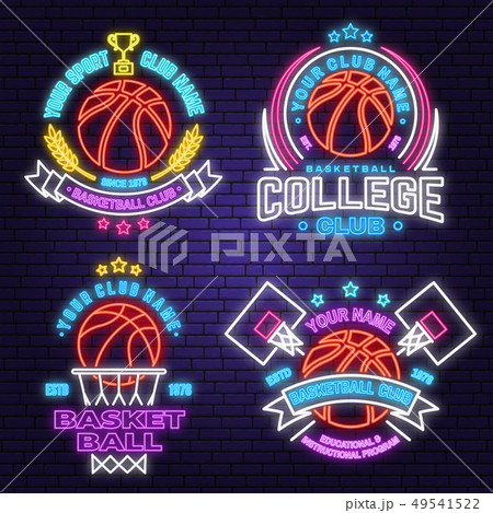 Set of basketball club neon design or emblem. Vector. Graphic design for t-shirt, tee, apparel 49541522