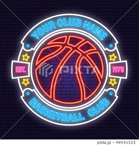 Basketball club neon design or emblem. Vector. Concept for shirt, print, stamp or tee. Vintage 49541523
