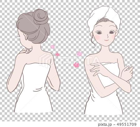 女子圍著浴巾,手撫摸嫩滑的肌膚,  49551709