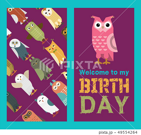 Owl banner and pattern vector illustration. Welcome to my birthday. Cute cartoon wise birds with 49554264