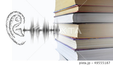 Stack of multicolored books and sound audio wave to human ear. Listen audiobooks online education 49555187