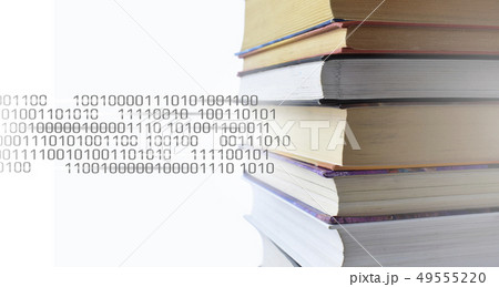 Stack of multicolored books. Old textbooks stacked on each other. Online education technology 49555220