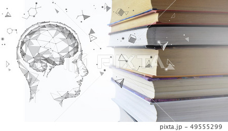 Stack of multicolored books and human man head with brain. Old textbooks stacked on each other 49555299