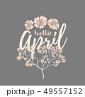 Hello april card with Cherry Blossom Spring Flower tree 49557152