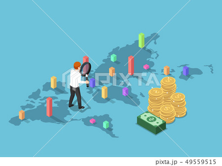 isometric businessman use magnifying glass to 49559515