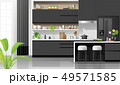 Modern black and white kitchen background 49571585