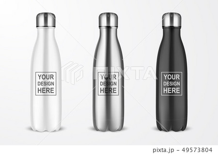 Vector Realistic 3d White, Silver and Black Empty Glossy Metal Reusable Water Bottle with Silver 49573804