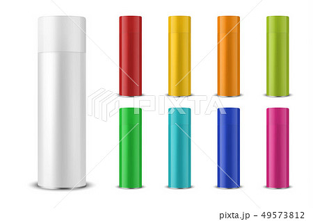 Vector 3d Realistic Colorful Blank Spray Can, Spray Bottle with Cap Set Closeup Isolated on White 49573812